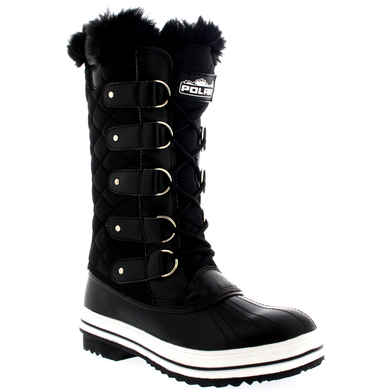 Wonderful WomensQuiltedRainLaceUpFurLinedWarmShoesDuckWinterSnow