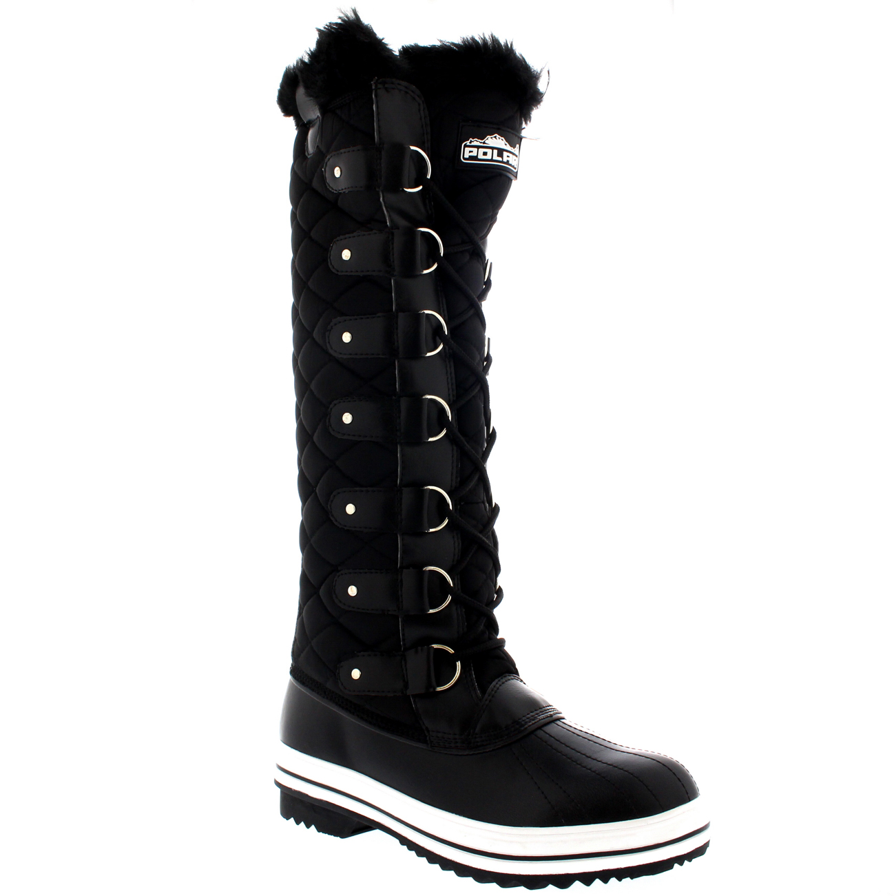 Womens Quilted Knee High Duck Fur Lined Rain Lace Up Muck Snow ...