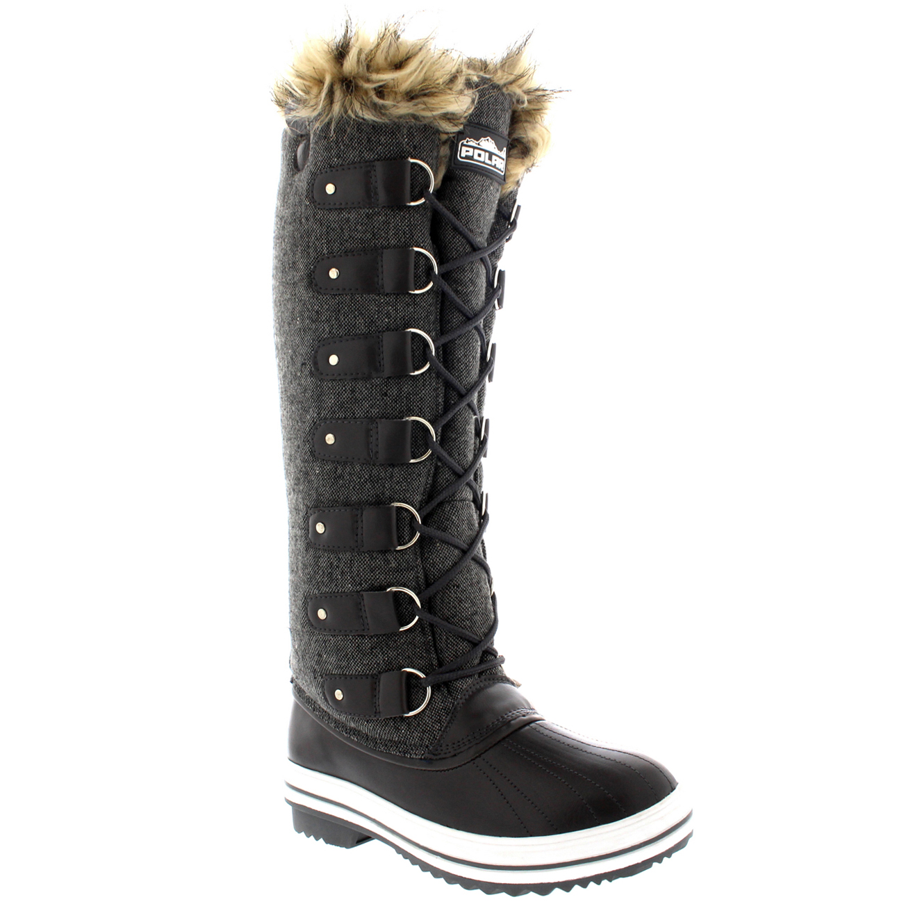 Womens Fur Cuff Lace Up Rubber Sole Knee High Winter Snow ...