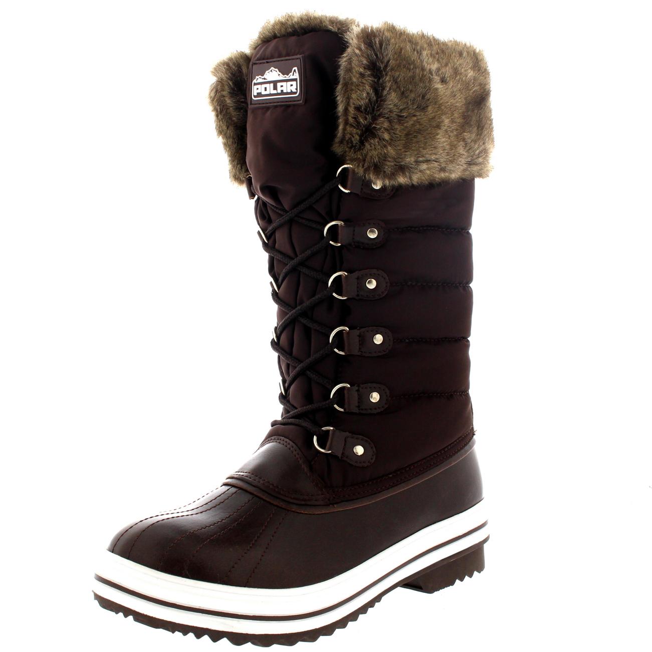 Womens Nylon Warm Side Zip Fur Duck Muck Lace Up Rain Winter Snow ...