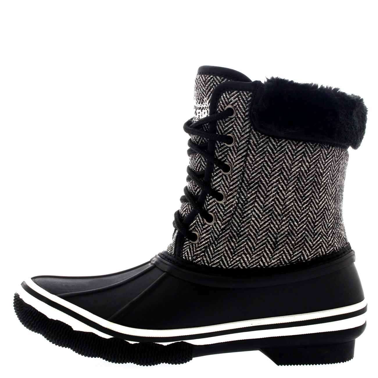 Womens Rubber Sole Deep Tread Winter Textile Fur Cuff Snow Rain ...