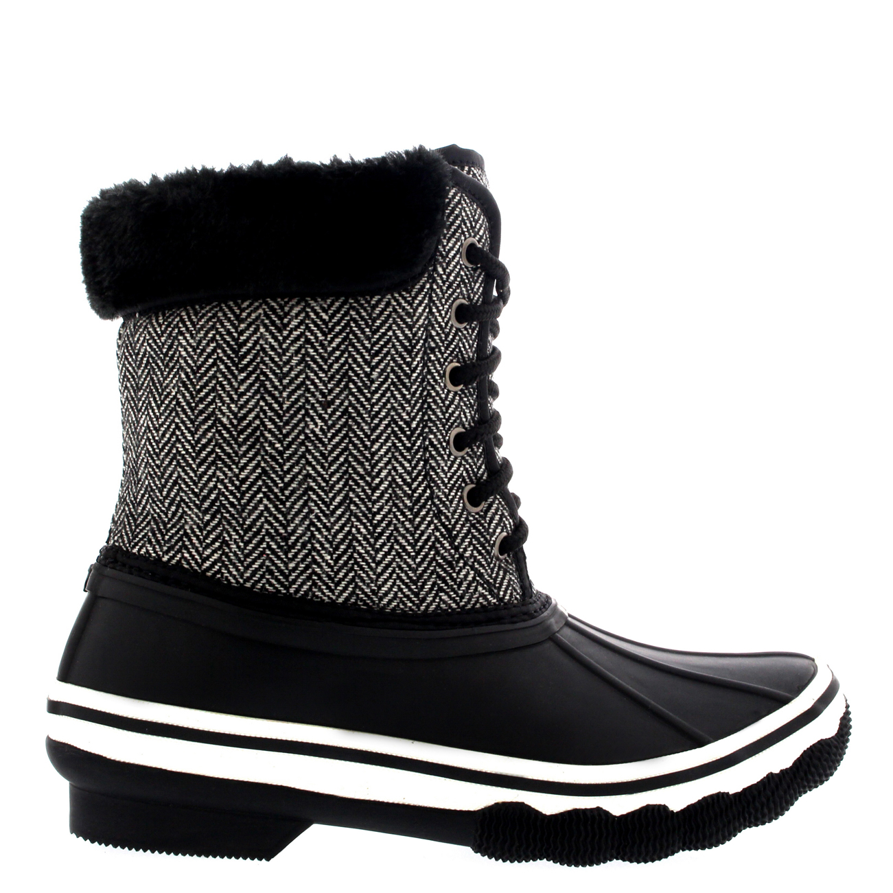 Womens Rubber Sole Deep Tread Winter Textile Fur Cuff Snow ...