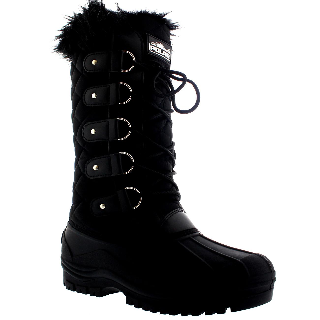 Womens Faux Fur Tactical Mountain Waterproof Knee High Walking Boots UK 3-10
