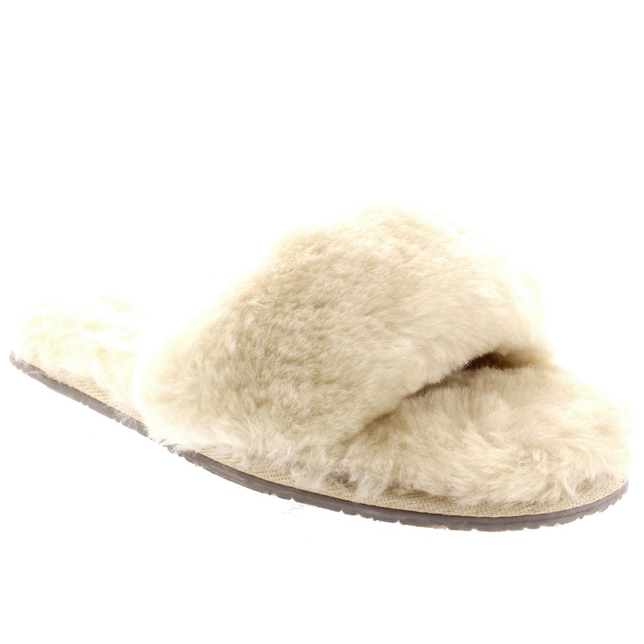 pour femme v ritable en peau de mouton australien mules bout ouvert fourrure luxe pantoufles uk. Black Bedroom Furniture Sets. Home Design Ideas