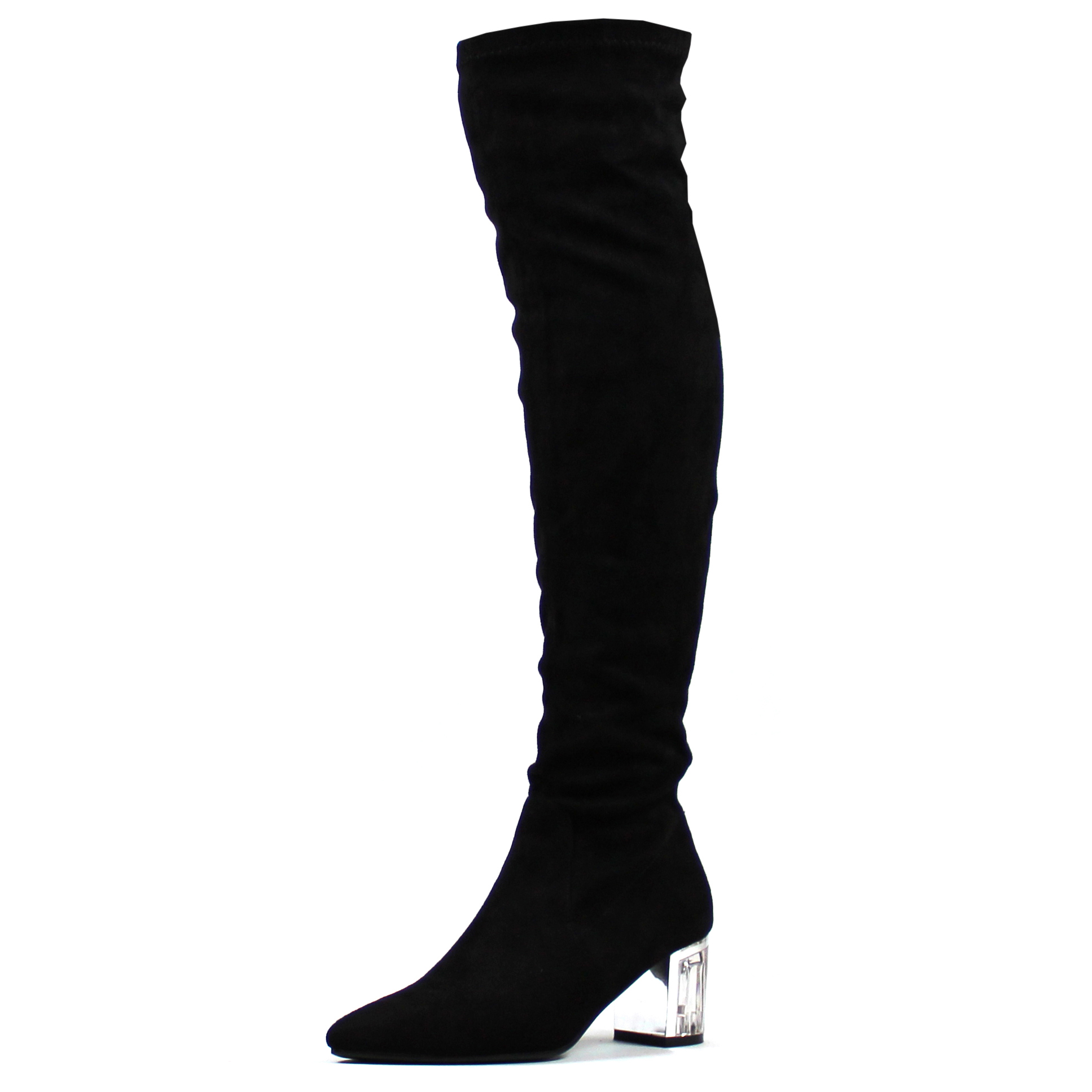 Womens Clear Pointed Toe Perspex Block Heel Sock Fit Thigh High ...