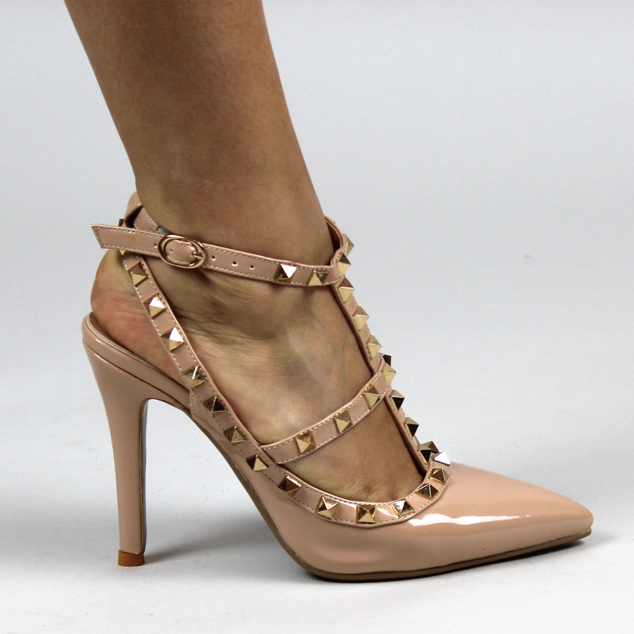 Womens Rivet Gladiator Pointed Toe High Heels Courts Studded ...