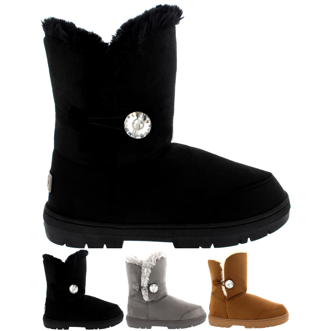 One Button Diamond Short Classic Boots