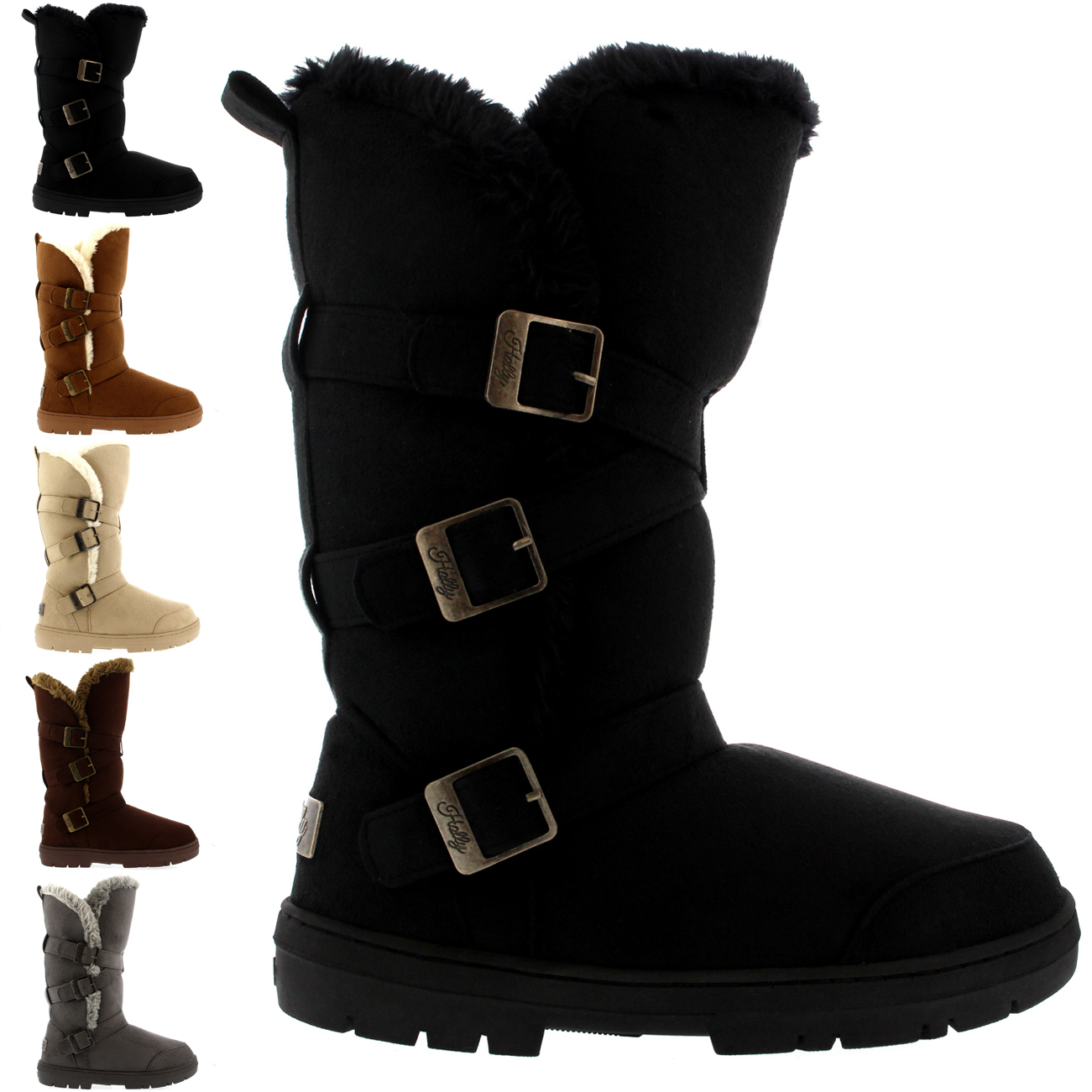 Triplet Buckle Tall Fur Boots