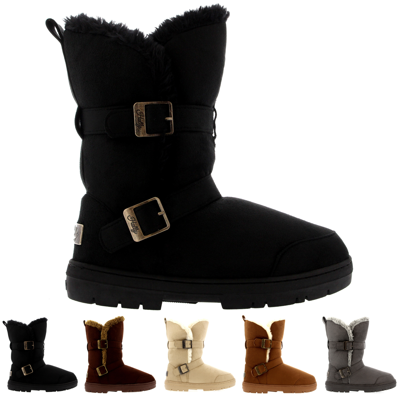 Twin Buckle Tall Fur Boots