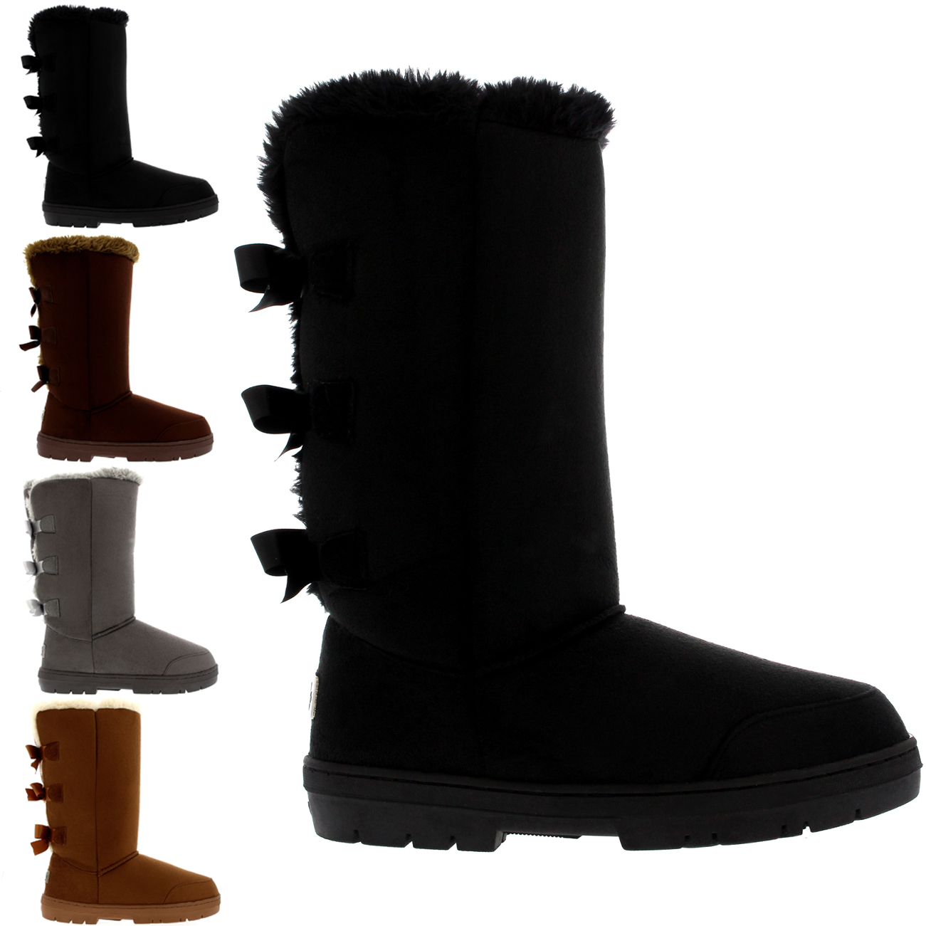 Triplet Bow Back Tall Fur Boots