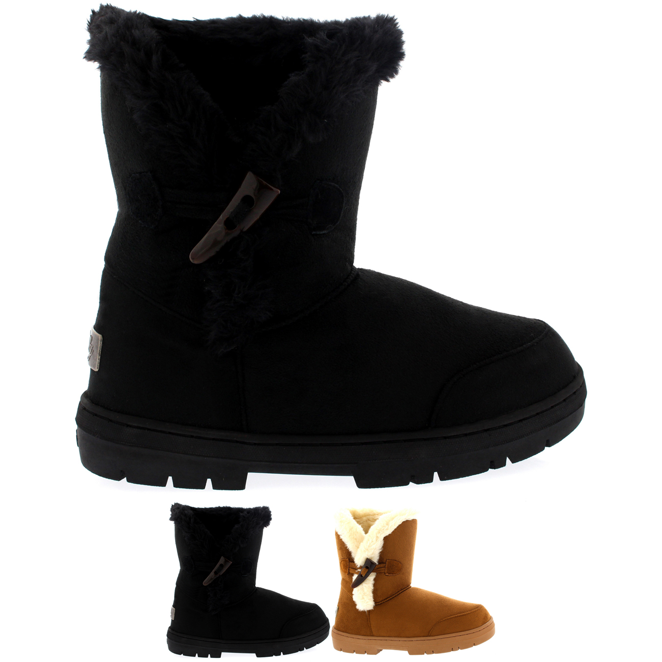 One Toggle Rope Thick Fur Boots