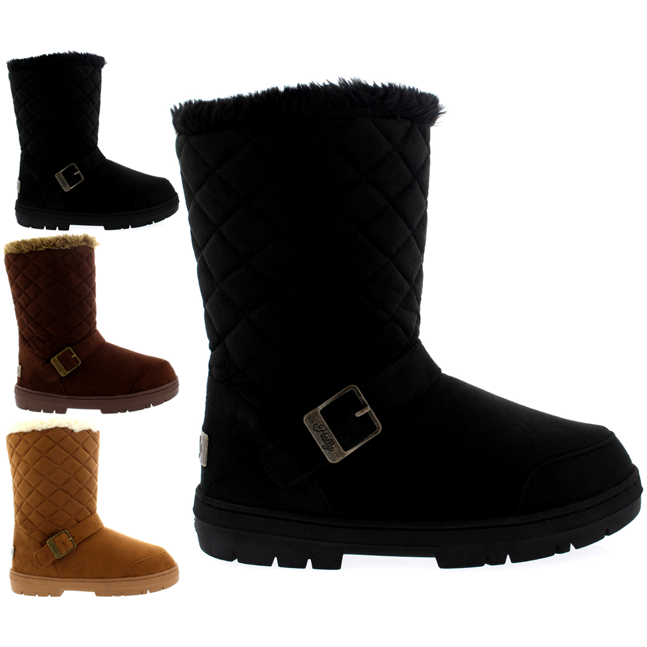 One Buckle Classic Short Quilted Boots