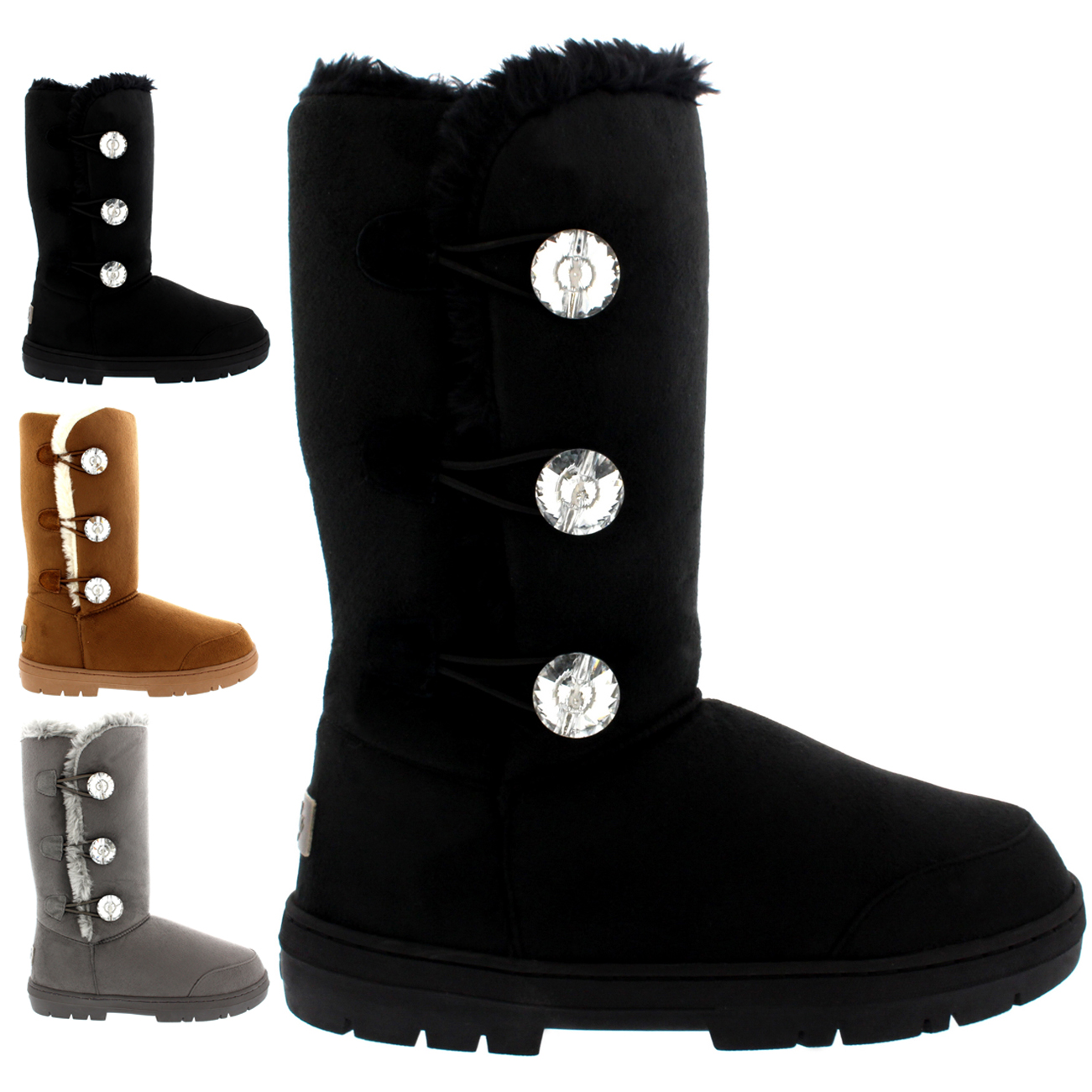 Triplet Button Diamond Tall Classic Boots