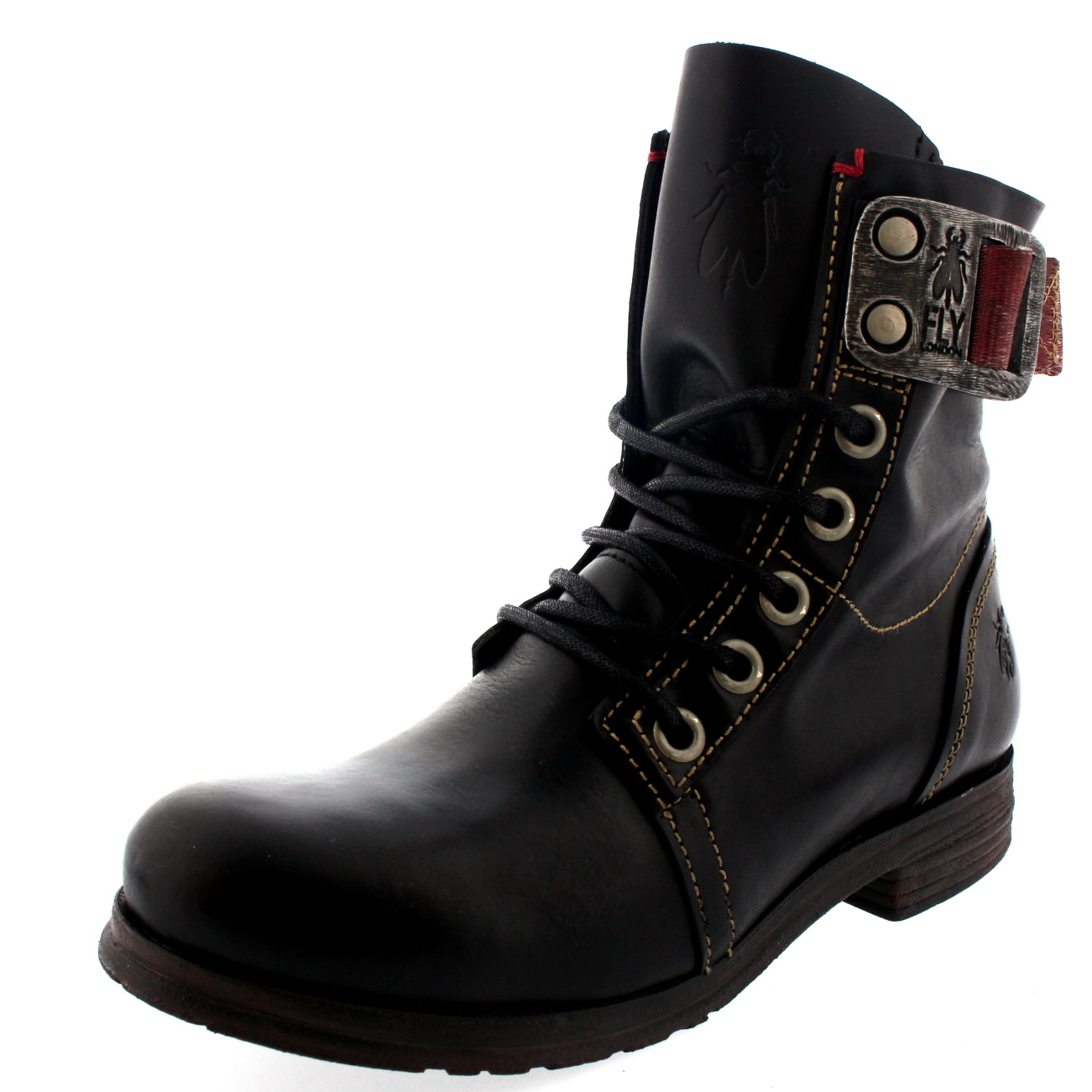 womens fly stay lace up leather buckle