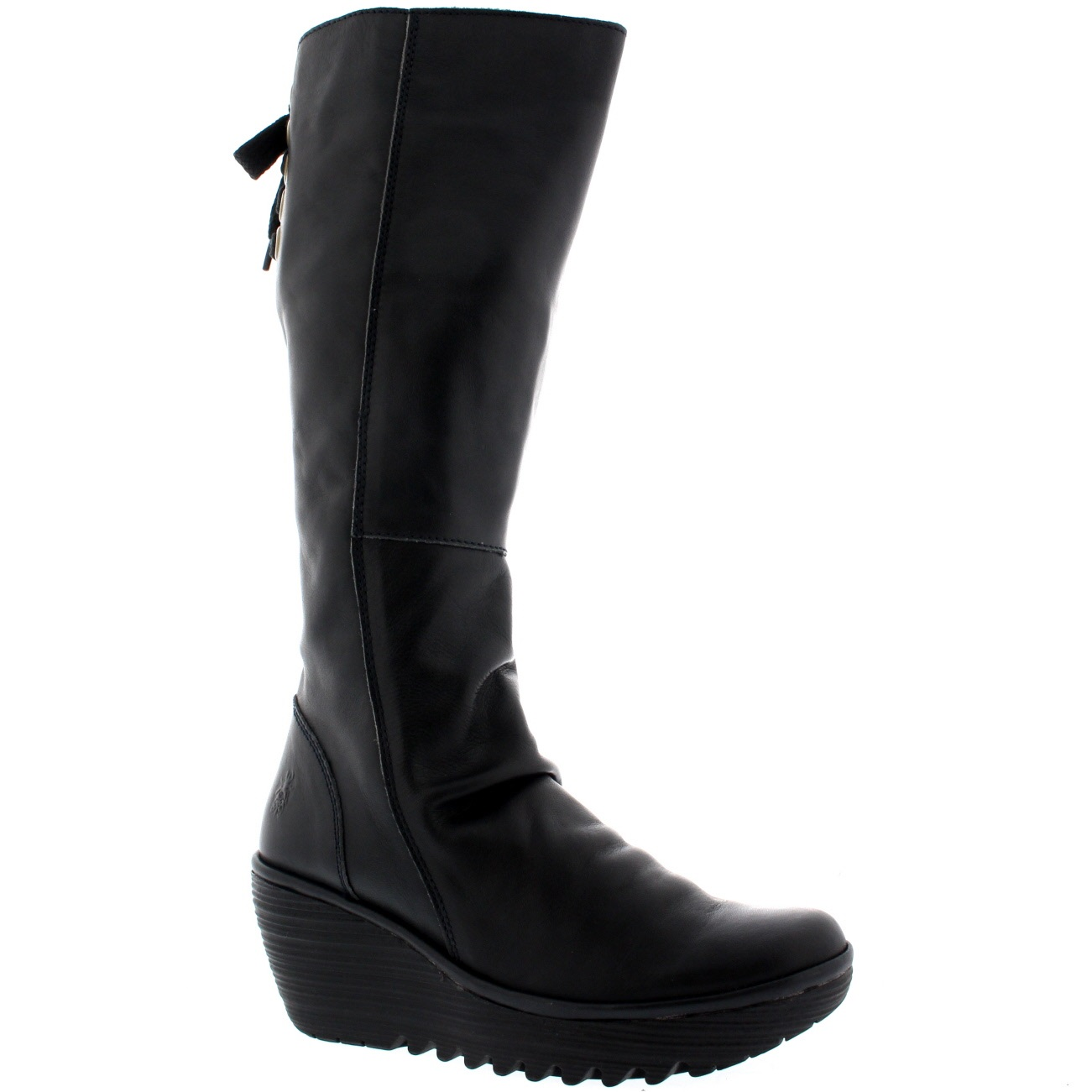 womens fly yust knee high leather winter snow wedge
