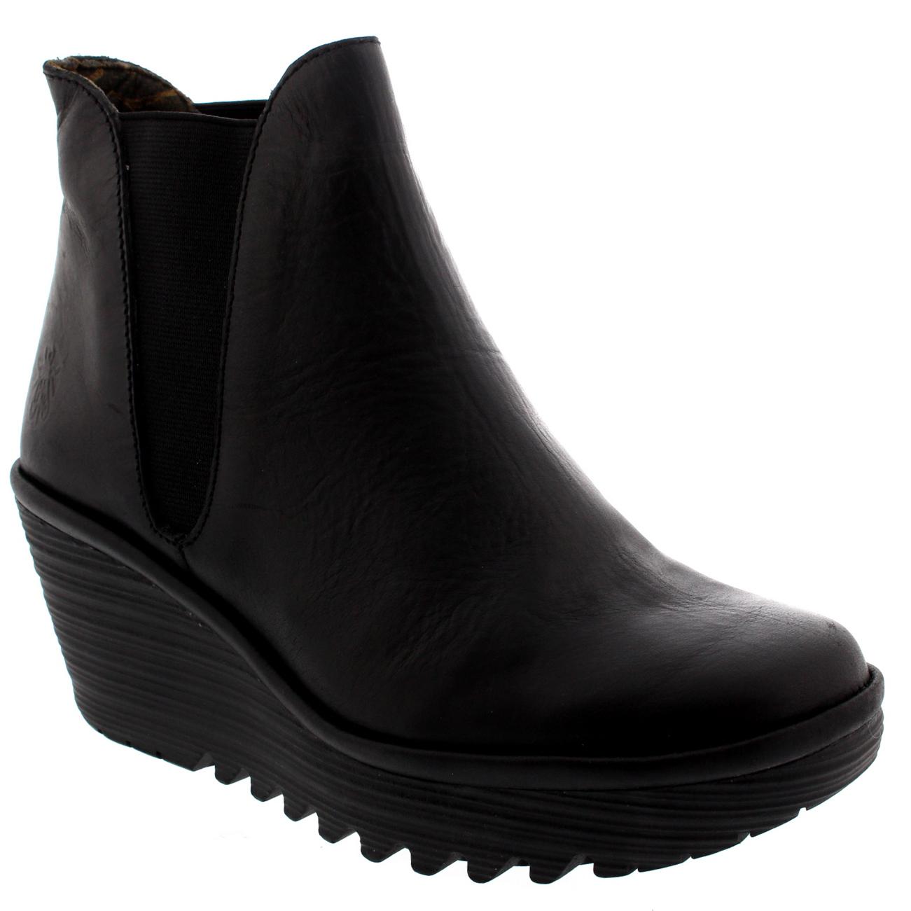 womens fly yoss elasticated wedge heel leather