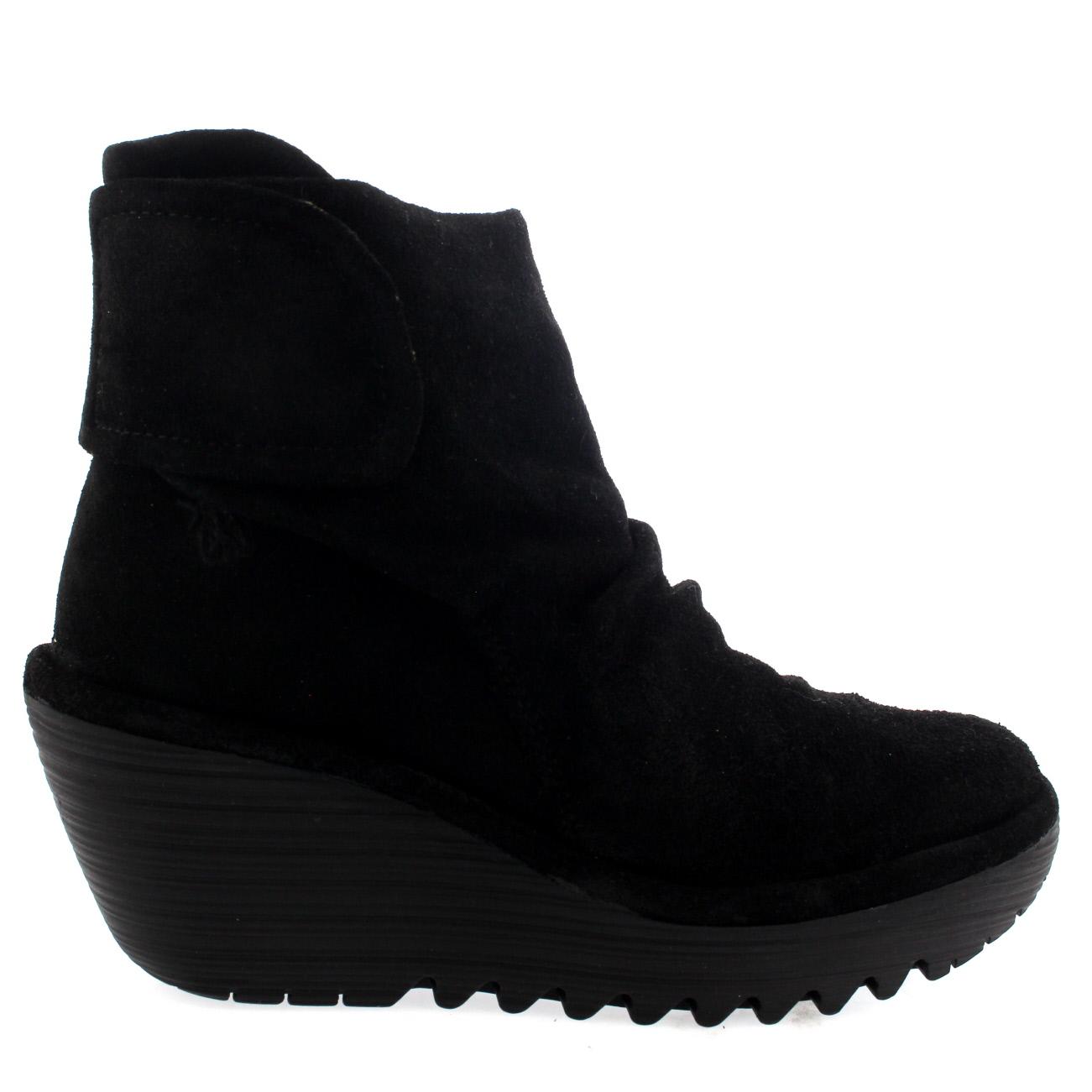 Womens Fly London Yegi Wedge Heel Suede Velcro Casual Winter Ankle ...