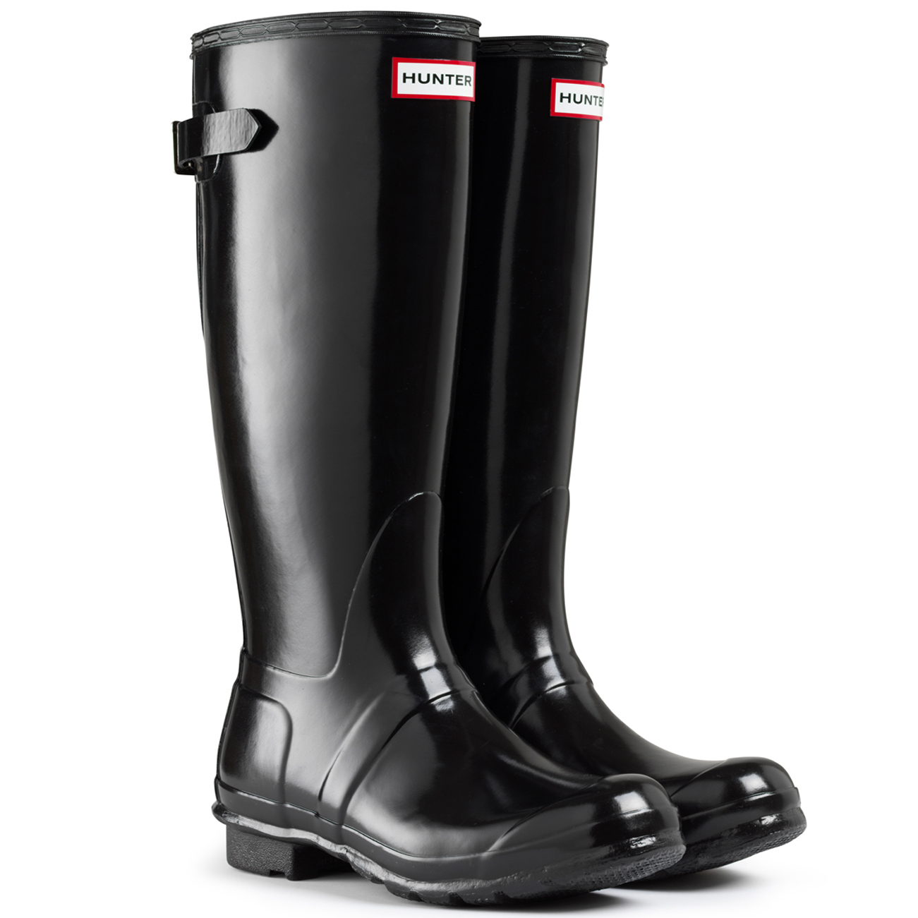 Hunter Gloss Adjustable Back Wellington Boots