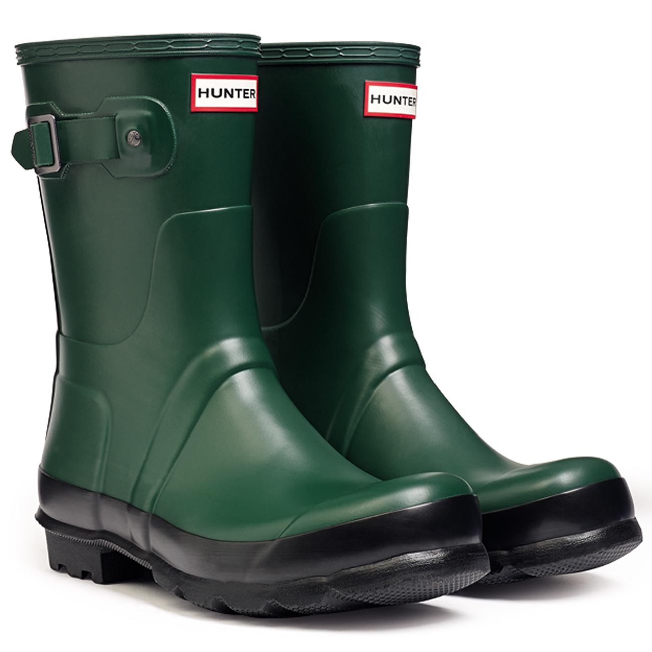 Mens Hunter Original Two Toned Short Wellingtons Snow Winter Rain ...