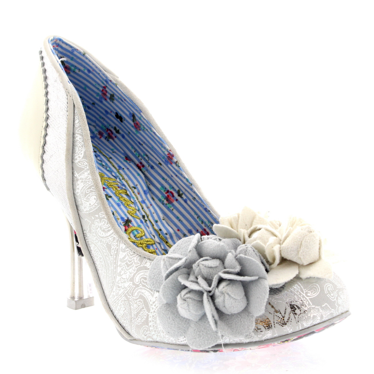 Womens Irregular Choice Mrs Lower Lace Floral Court Shoes High Heels UK 3.5-8.5