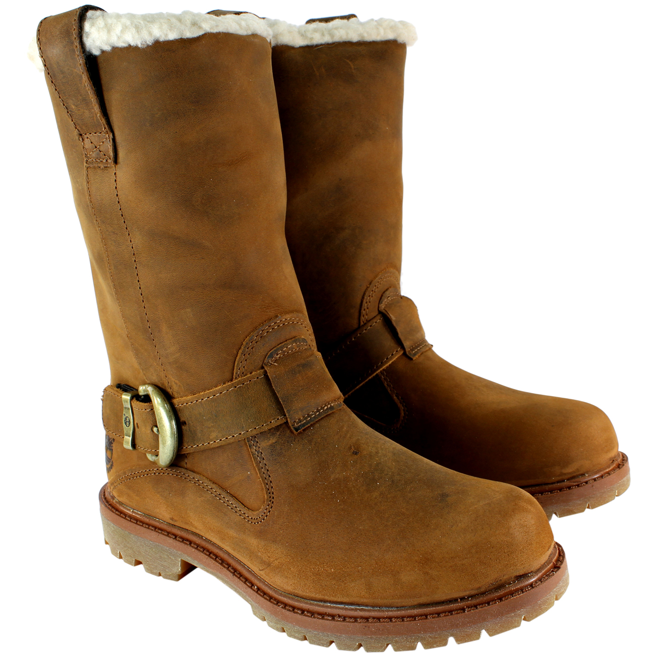 Womens Timberland Nellie Pull On Fur Lined Trim Buckle Winter Boot