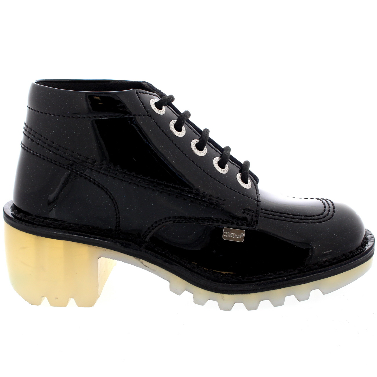 Lastest Womens Black Heeled Lace Up Brogue Leather Style Ladies Shoes Boots Uk