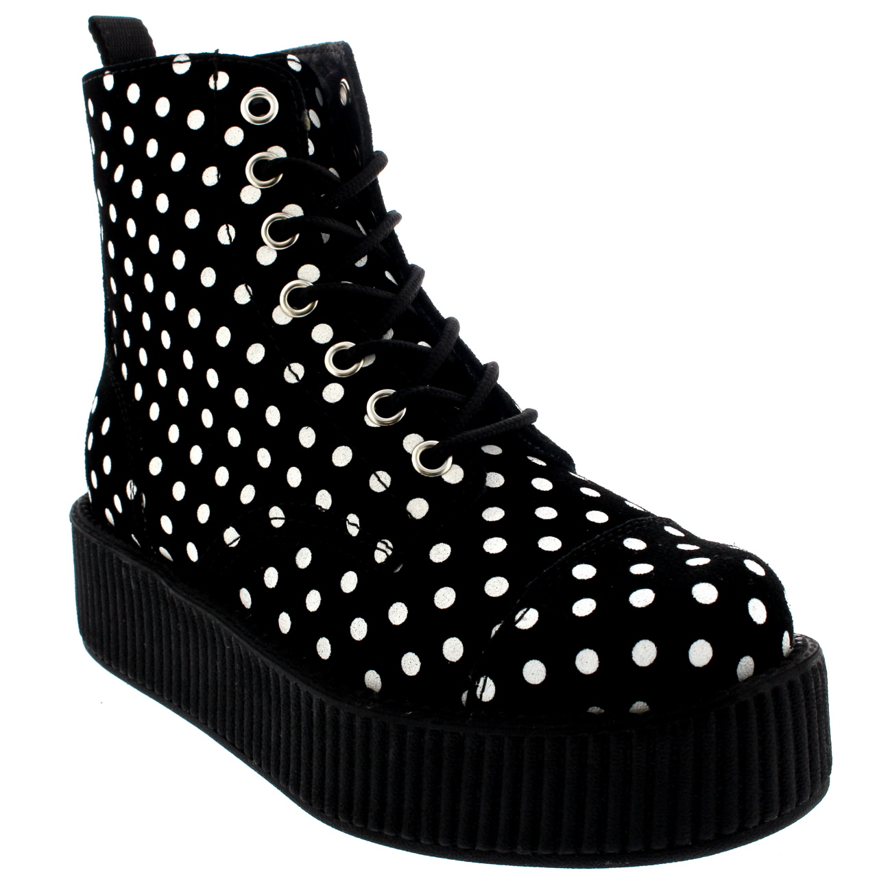 T.U.K Anarchic 7 Eye Boot Polka Dots