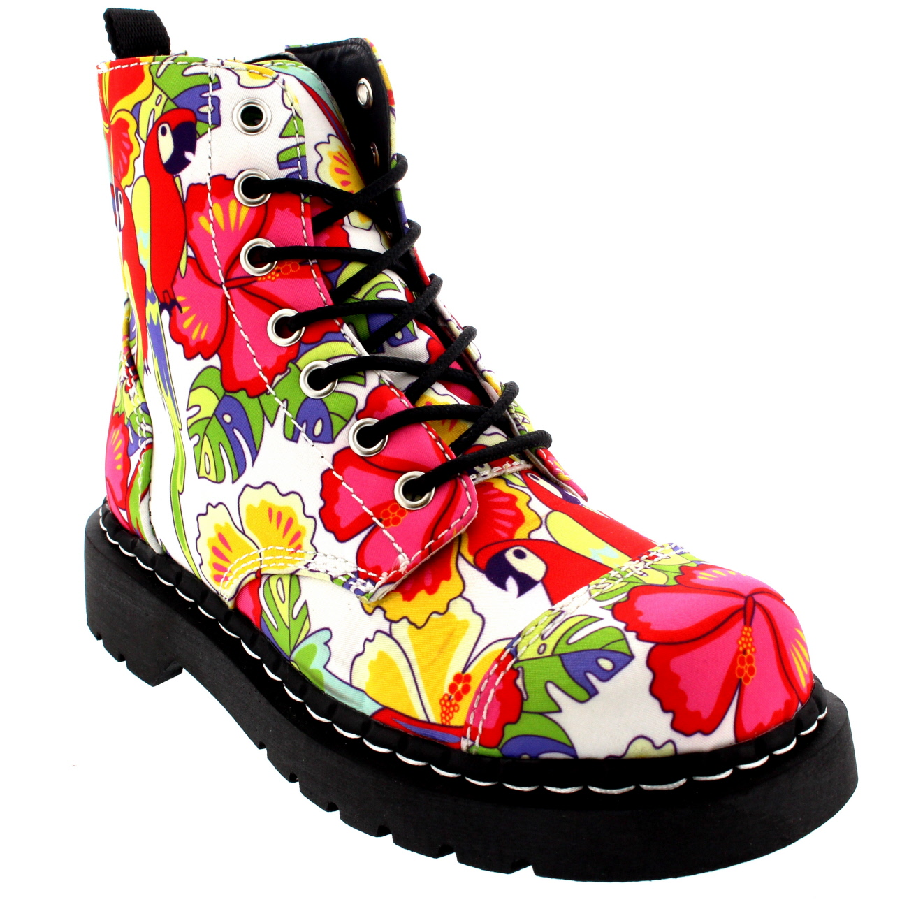 T.U.K Anarchic 7 Eye Boot Parrot Tropical Prints