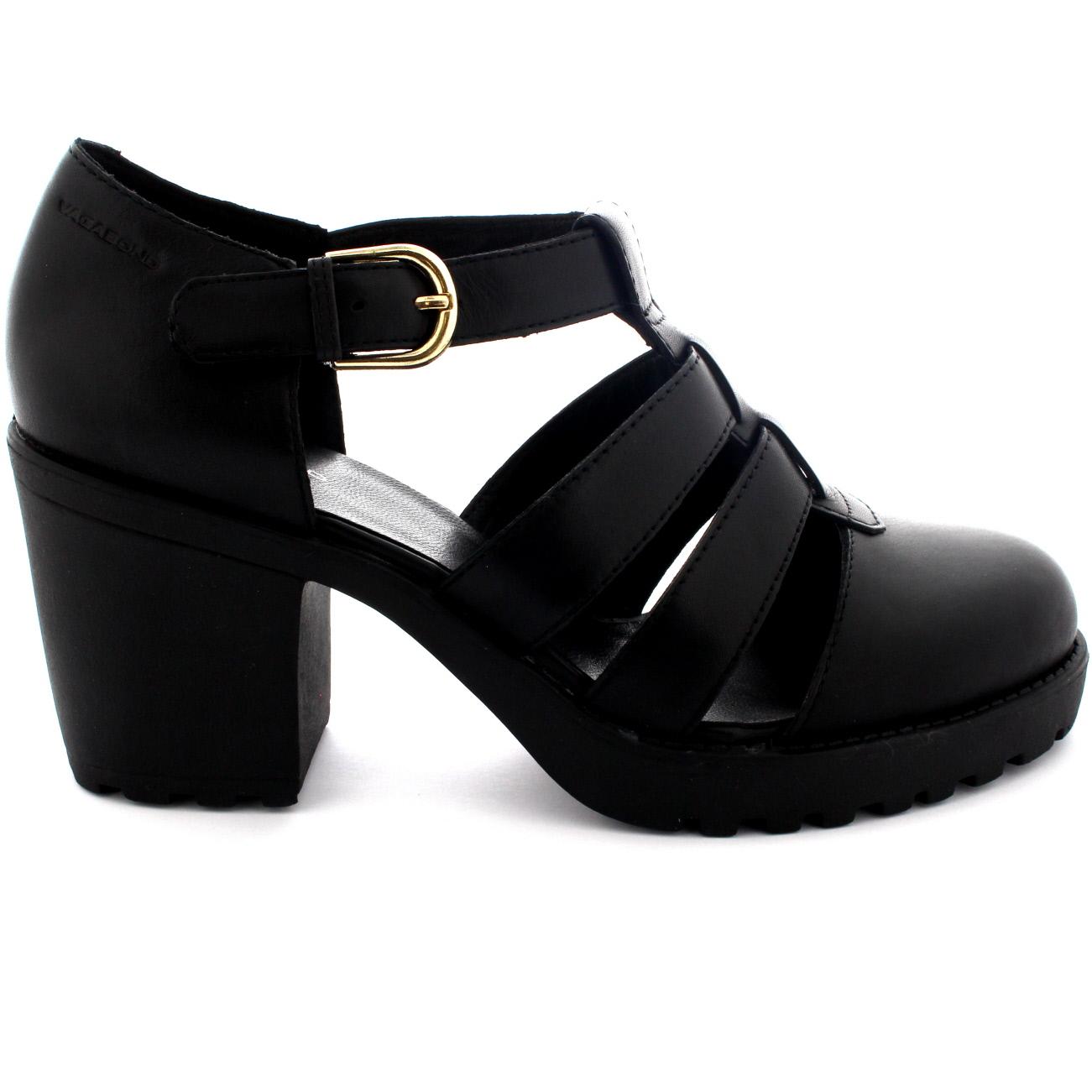 Black sandals mid heel uk - Womens Vagabond Grace Buckle Leather Festival Mid Heel Boots Sandals Uk 3 5 8
