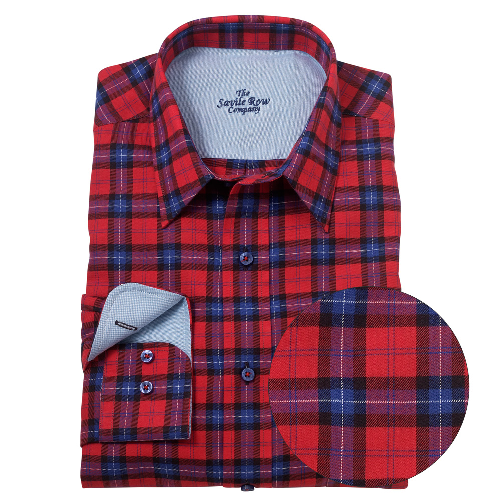 Savile row mens red navy check flannel shirt ebay for Navy blue and red flannel shirt