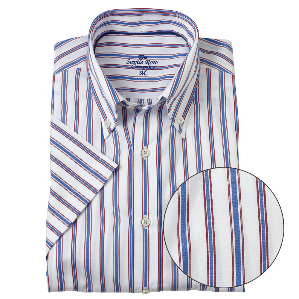 Savile-Row-Mens-Blue-Red-Stripe-Short-Sleeve-Shirt