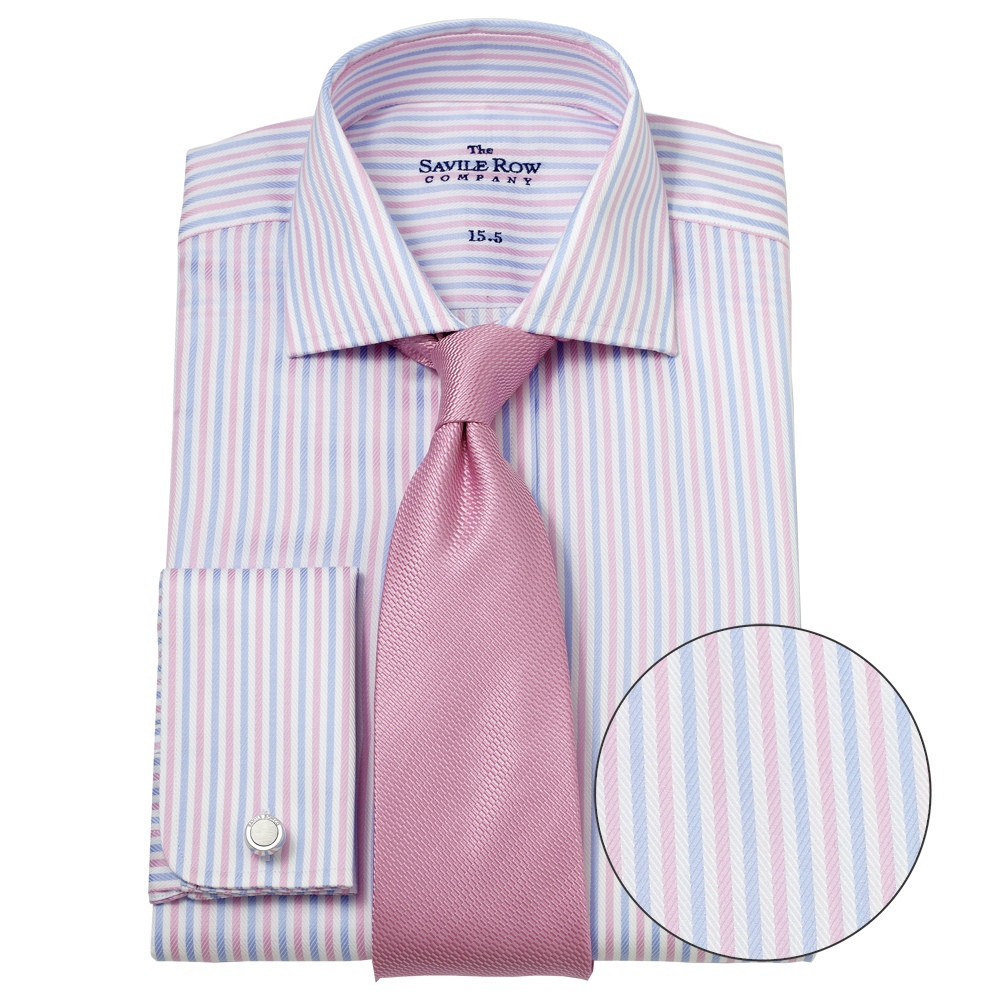 Savile-Row-Mens-Blue-Pink-White-Fancy-Bengal-Stripe-Slim-Fit-Double-Cuff