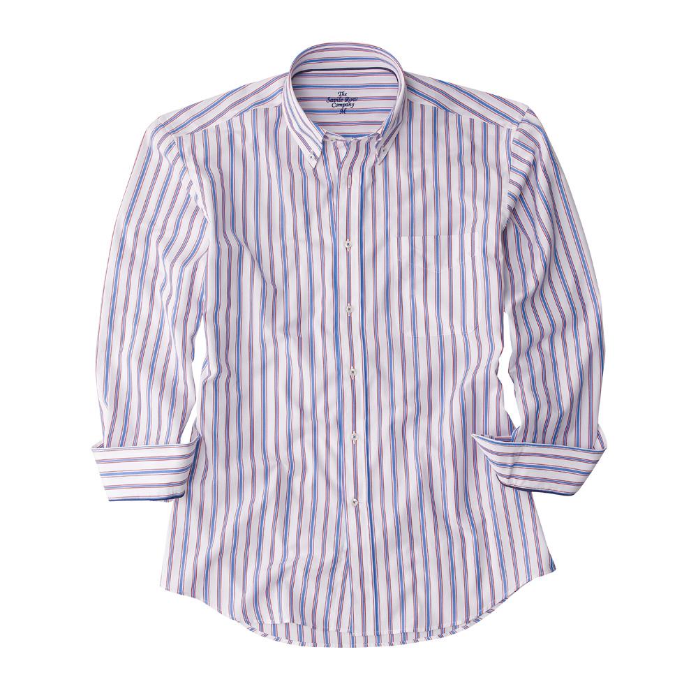 Savile row mens blue red white stripe button down shirt for Red and white button down shirt