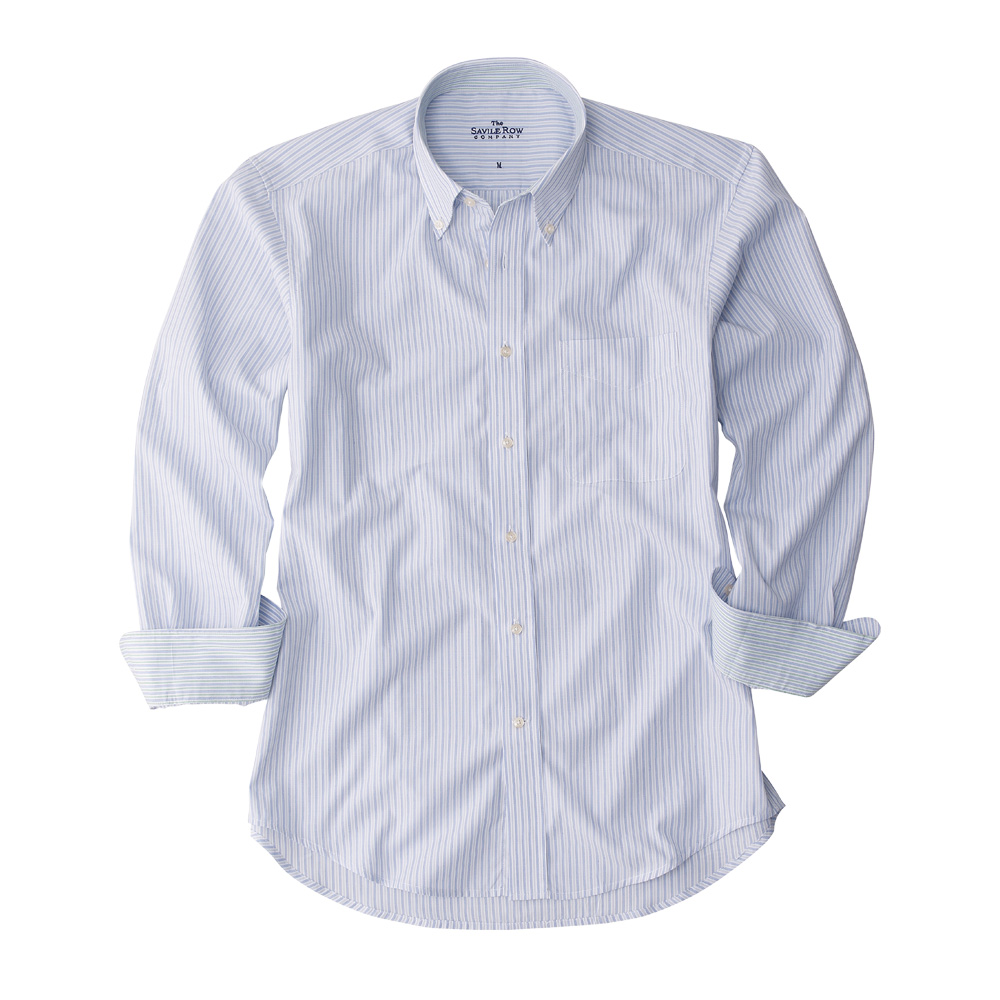Savile row mens blue white grey stripe button down casual for Grey button down shirt