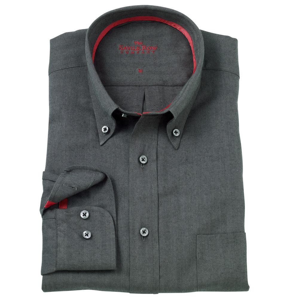 Savile row mens black herringbone button down casual shirt for Mens black button down shirt