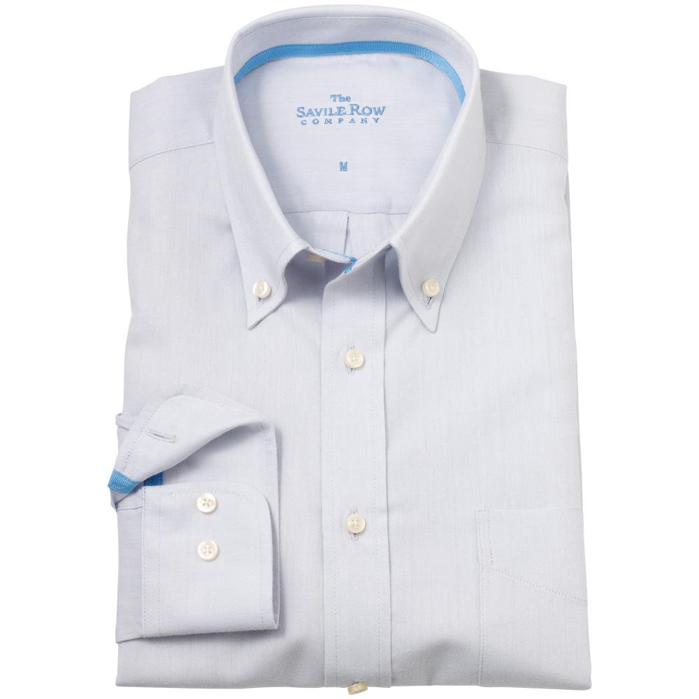 Savile row mens light grey herringbone button down casual for Mens grey button down dress shirt