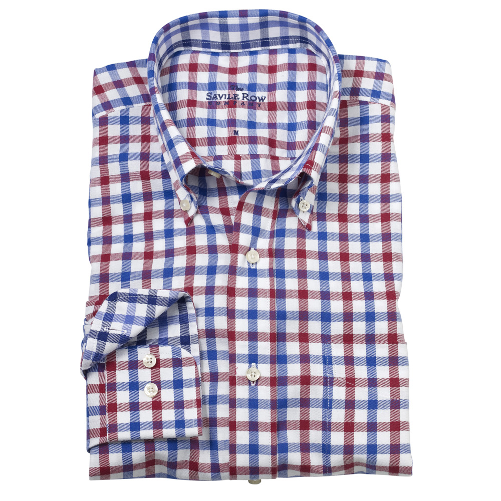 Savile row mens navy red check brushed twill button down for Brushed cotton twill shirt