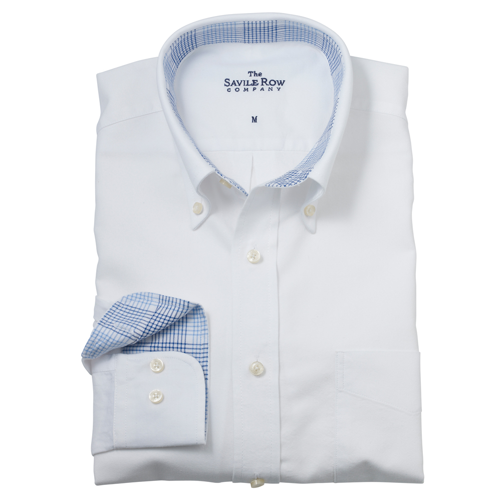 Savile row mens white washed oxford button down casual for Mens white oxford button down shirt