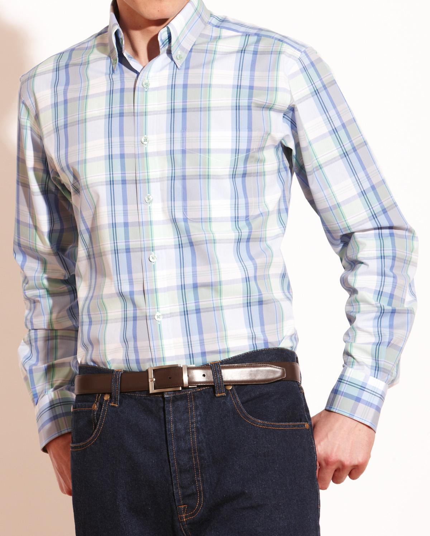 Savile-Row-Mens-Bold-Check-Button-Down-Casual-Shirt-Single-Cuff