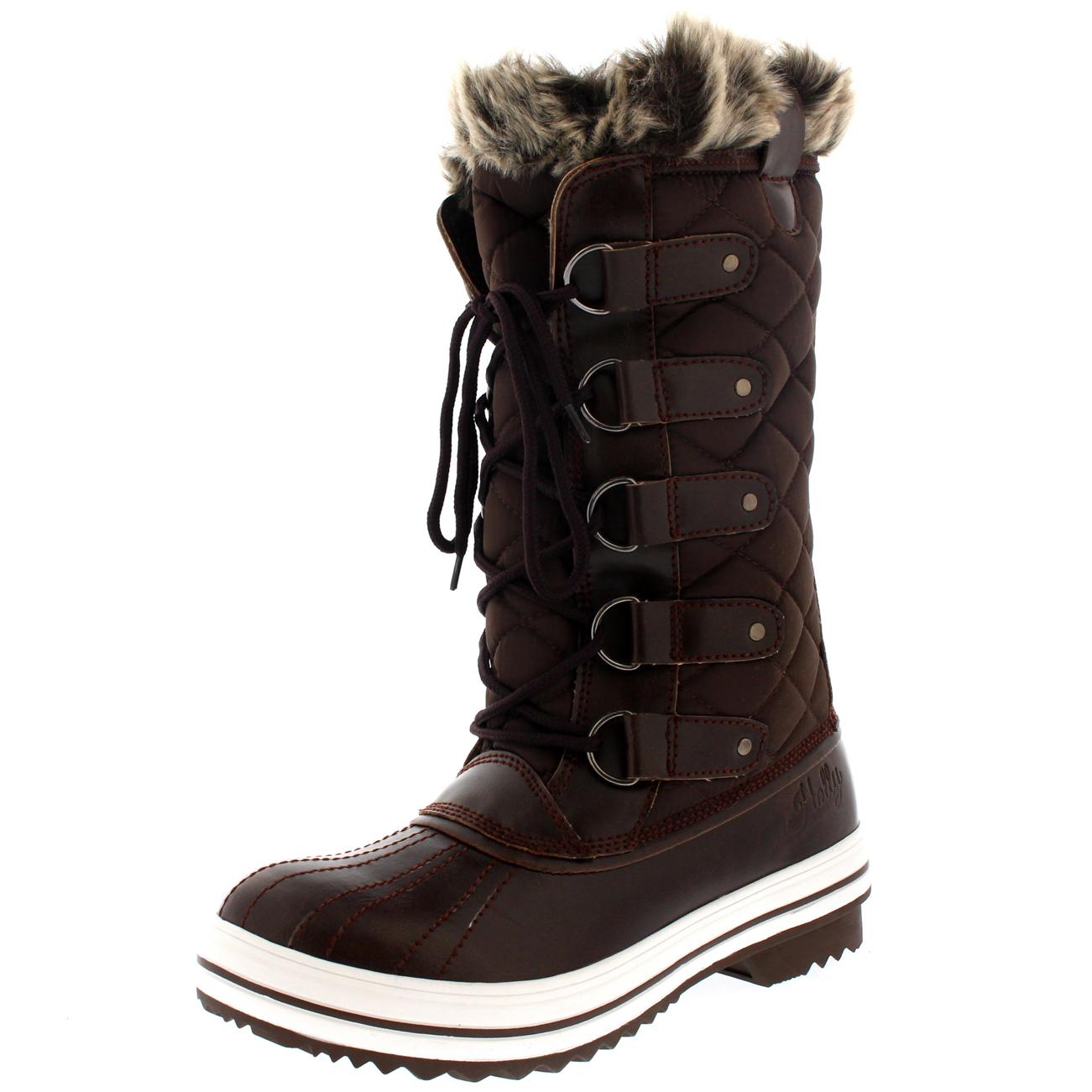 Ladies Snow Boot Nylon Tall Winter Waterproof Fur Lined Warm Rain ...