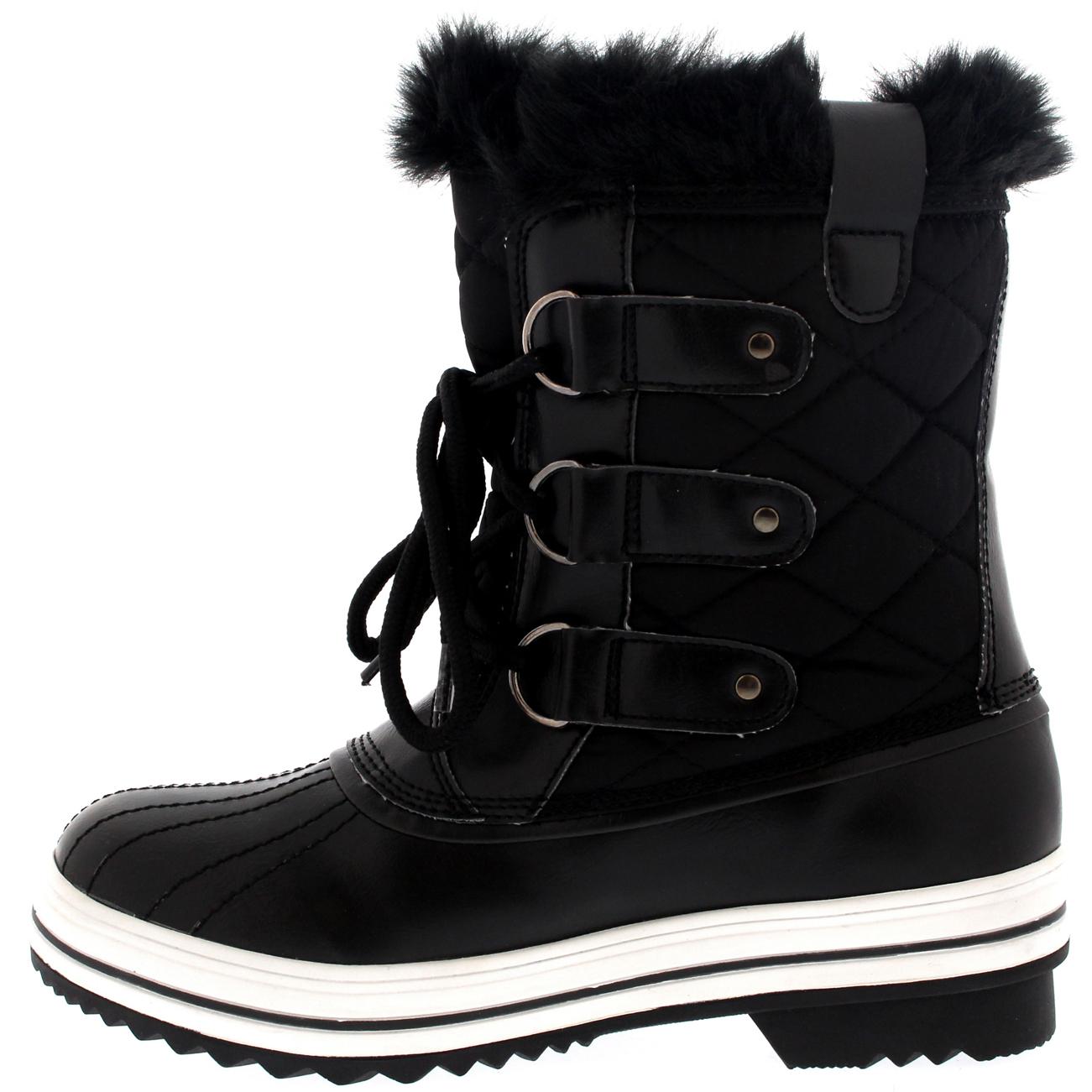 Ladies Snow Boot Nylon Short Winter Snow Fur Rain Warm Waterproof ...