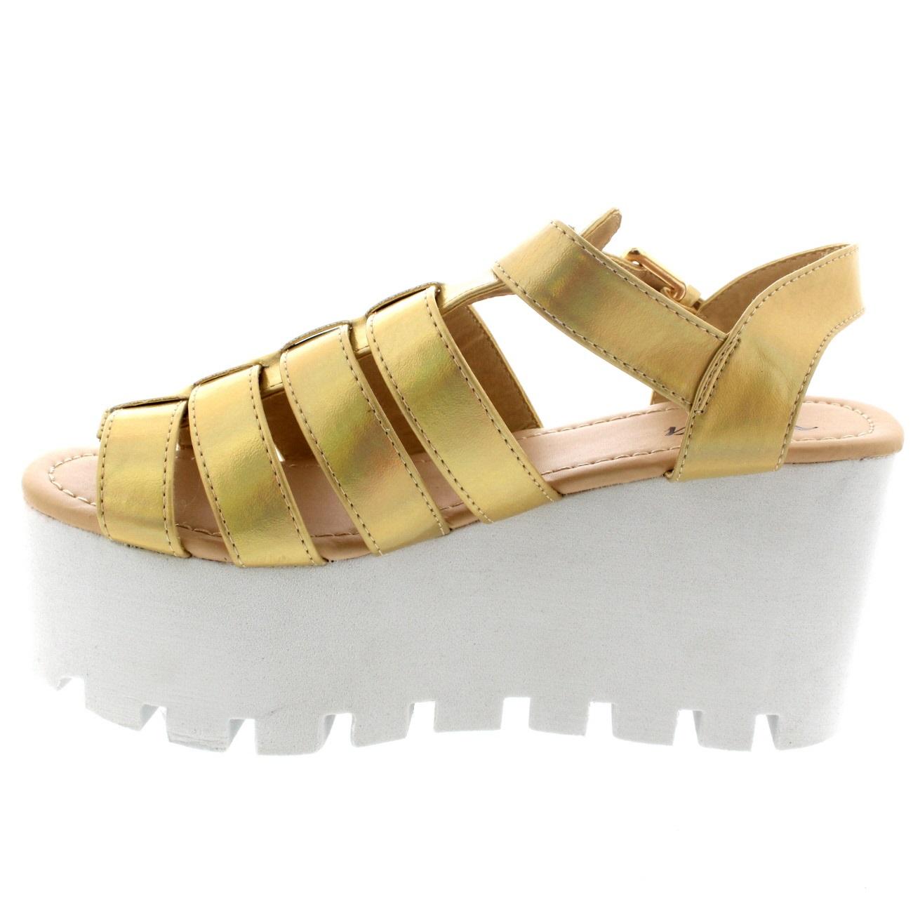 Ladies Buckle Hologram Flatform Shoes Platform Gladiator ...