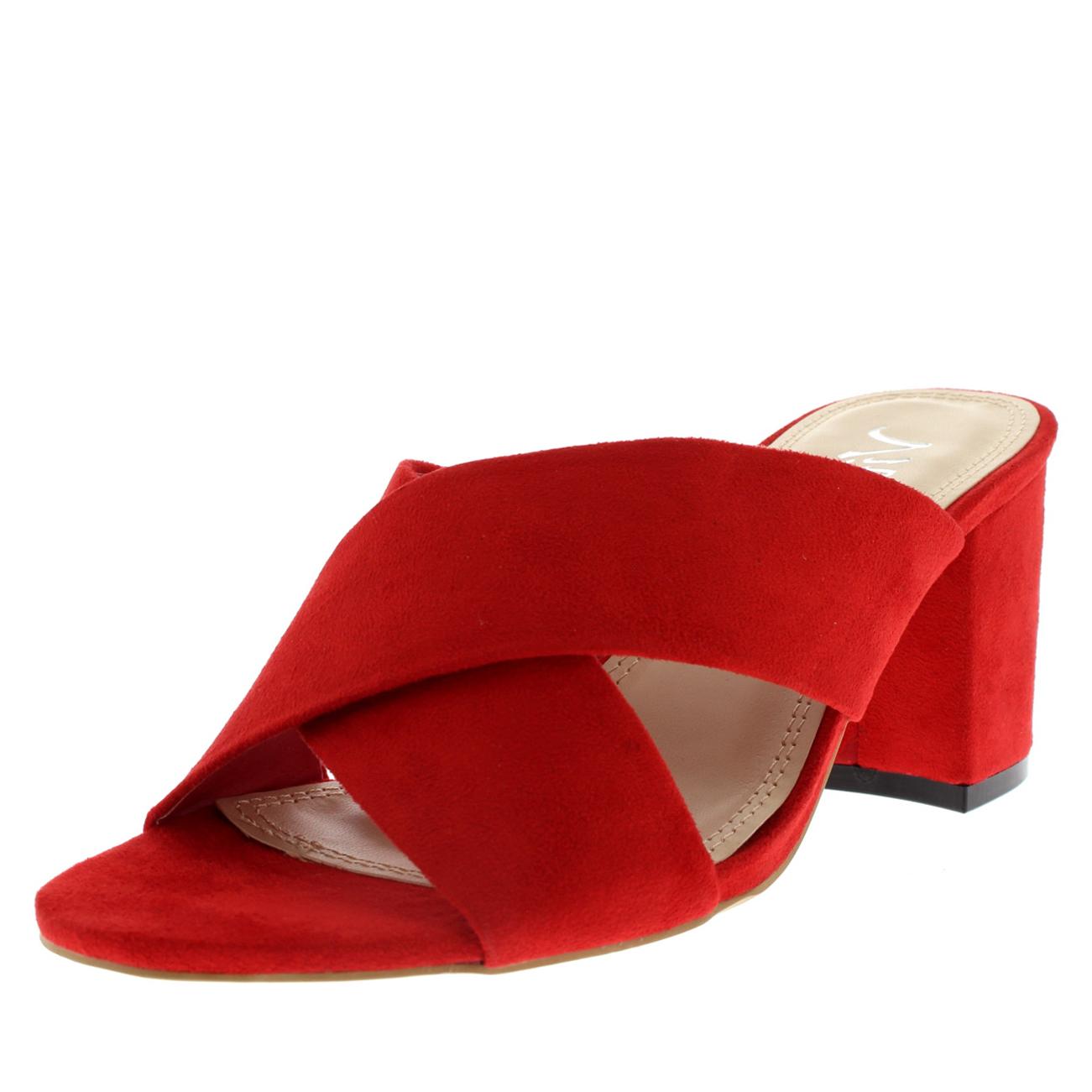 Donna Cinturino Incrociato Muli Tacco a Blocco Punta Aperta Moda tagliato Sandalo Tacco