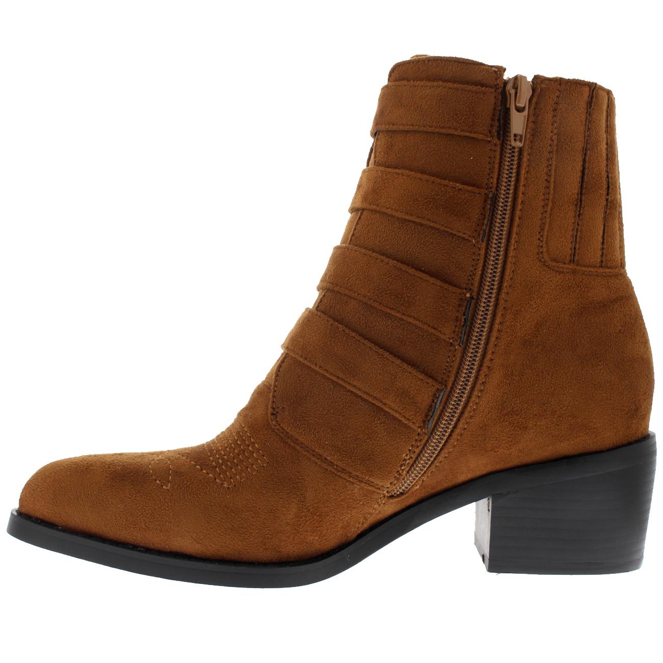 Ladies Rock Western Biker Chic Combat Cowboy Block Heel Ankle Boots All Sizes