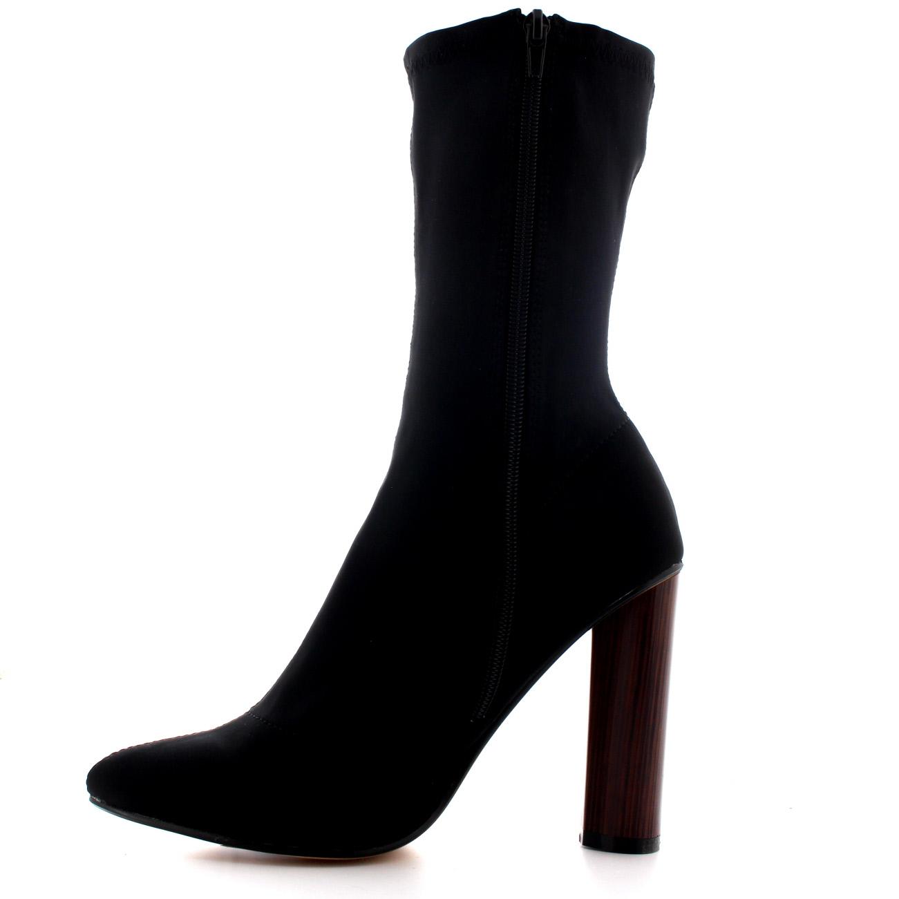 wooden block heel sock fit high heel shoes pointed