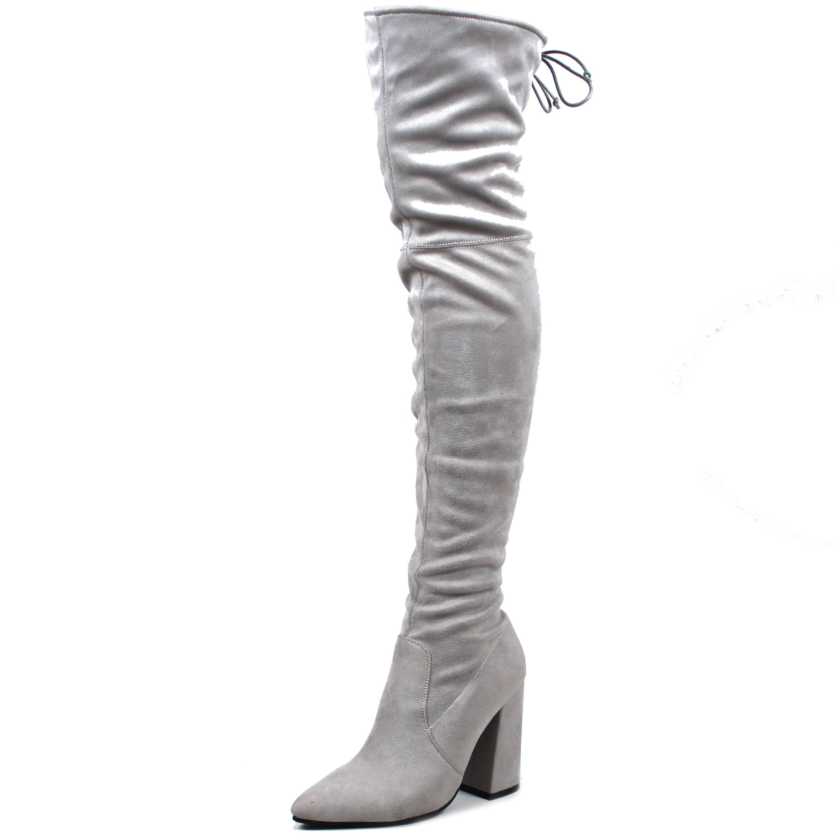 Ladies Suede Sock Fit Slouch Zipper Shoe Long Thigh High Low Heel ...