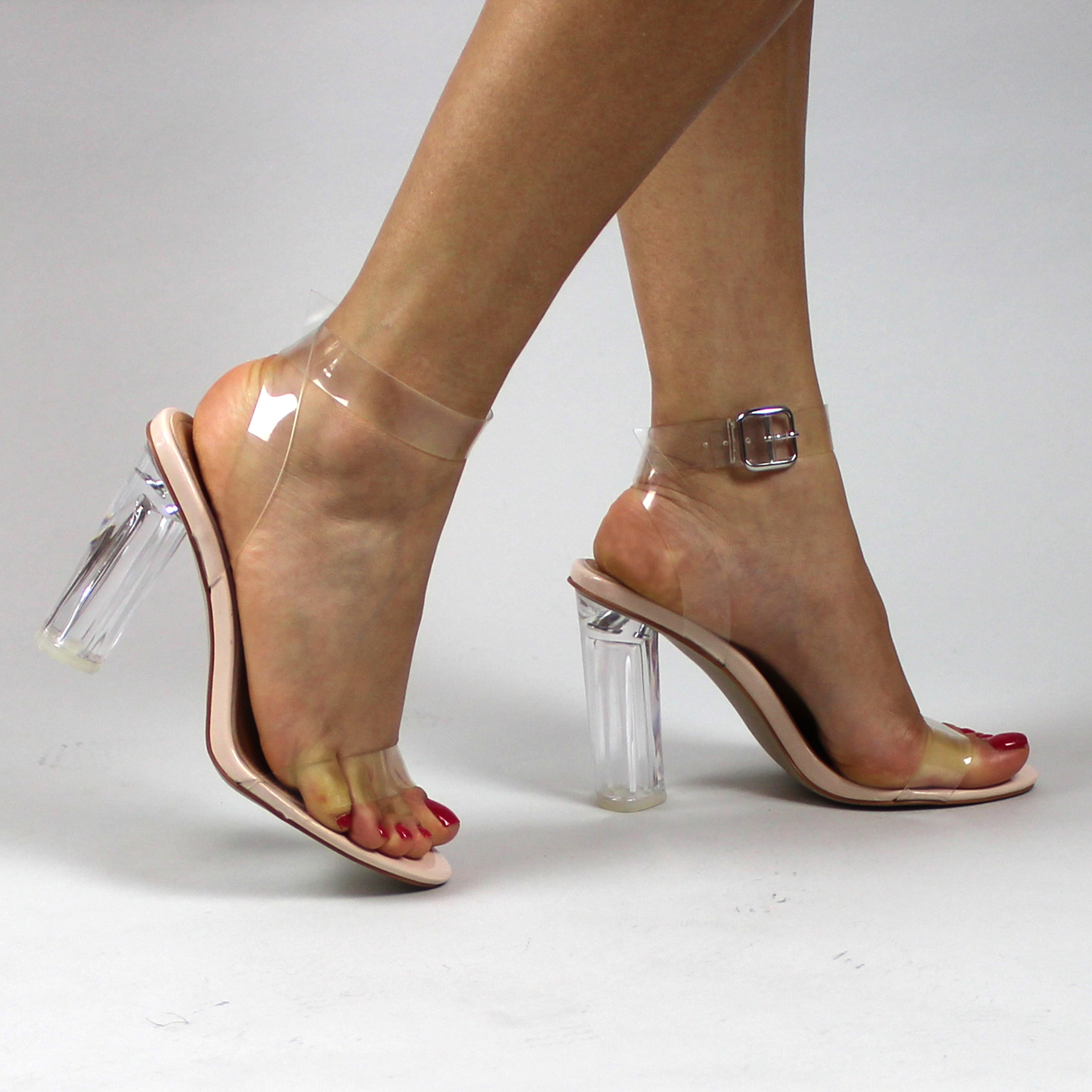 Ladies Transparent Strappy Block Heel Peep Toe Evening ...