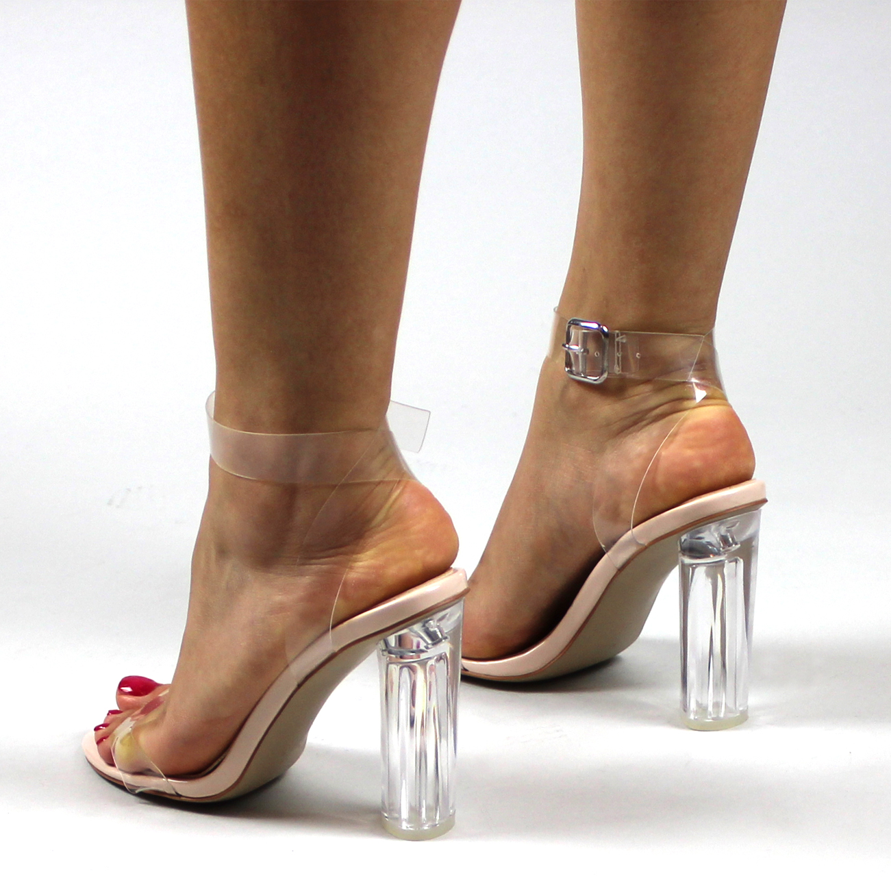 Ladies Transparent Strappy Block Heel Peep Toe Evening Prom High ...