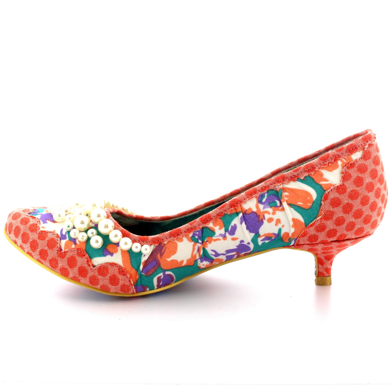 Ladies Irregular Choice Pearly Girl Low Retro Court Shoes Kitten ...