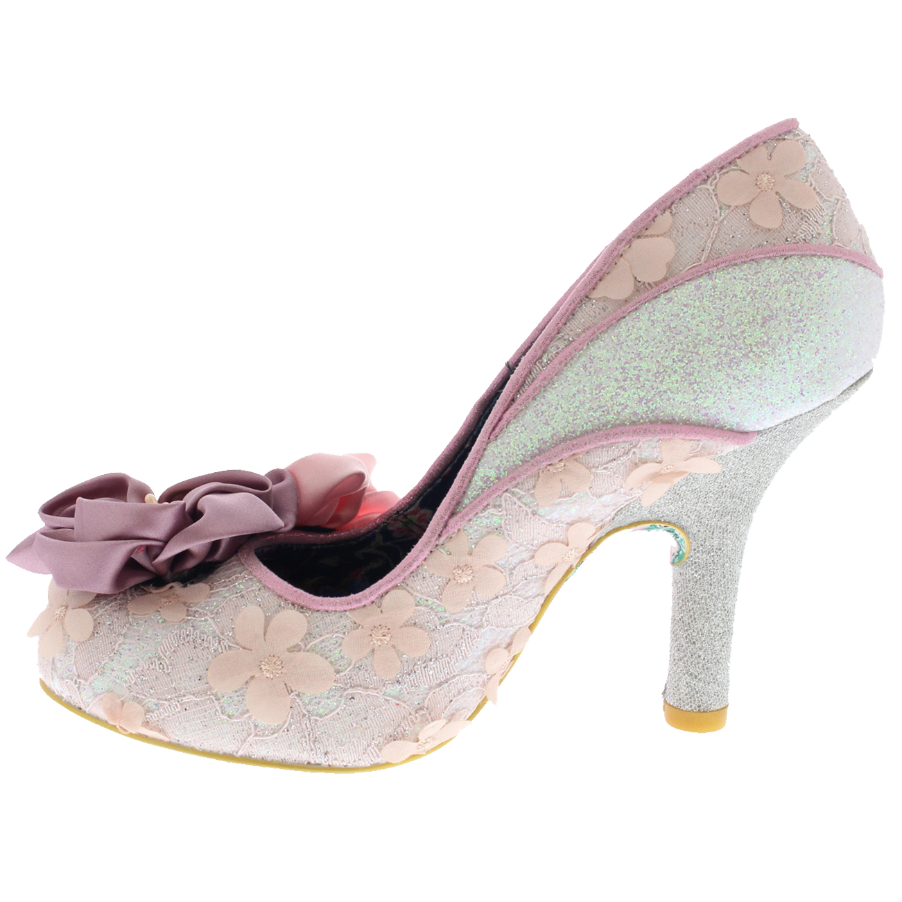 Ladies Irregular Choice Peach Melba Bridal Evening Court Shoes Heels All Sizes